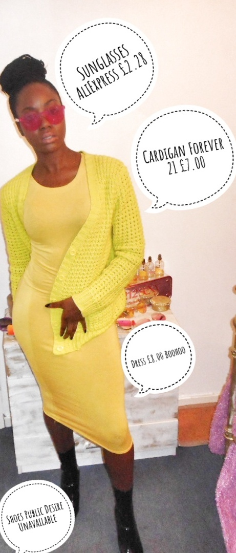 Mystere's Closet Yellow dress Flouro Cardigan
