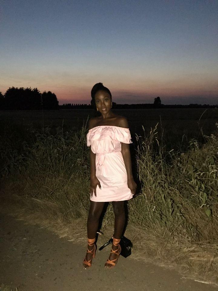 Makeda Bowen pink Bardot dress