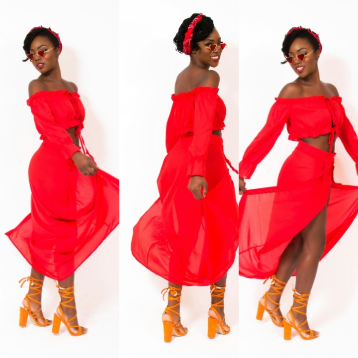 Mystere's Closet Red Gypsy outfit review Makeda Bowen